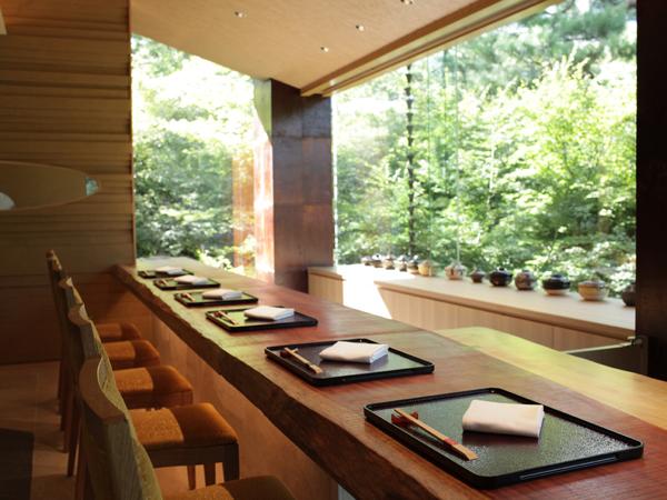 Restaurant Happoen et sophora du Japon